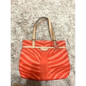 Coach Canvas Zebra Striped Orange Handbag Purse